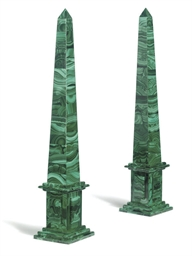 A PAIR OF MALACHITE OBELISKS