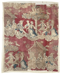 A PANEL OF CHINTZ PRINTED WITH