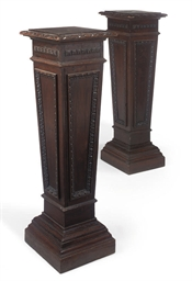 A PAIR OF EDWARDIAN STAINED OA