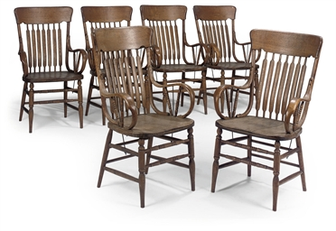 A SET OF SIX AMERICAN OAK ARMC