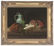 Bread, parsnips, walnuts and ham on a table, with a ceramic and pewter pitcher and wine glass to the side