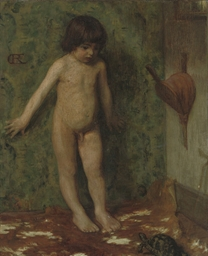 A naked boy with a tortoise in