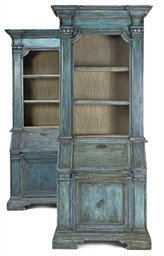 A PAIR OF BLUE PAINTED BUREAU