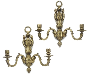 A SET OF FIVE GILT BRONZE TWIN