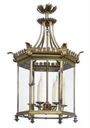 A GILT-BRASS HEXAGONAL LANTERN