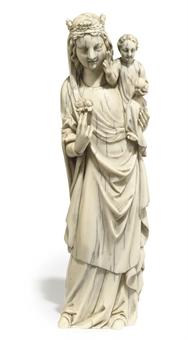 A FRENCH IVORY GROUP OF THE VIRGIN AND CHILD