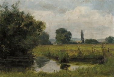 A meadow with a river in the f