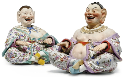 TWO MEISSEN NODDING PAGODA FIG