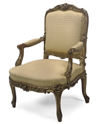 A FRENCH GILTWOOD FAUTEUIL A L