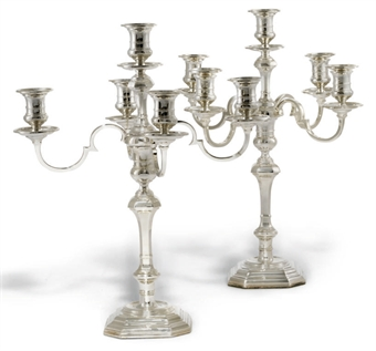 A PAIR OF MODERN SILVER FIVE-LIGHT CANDELABRA