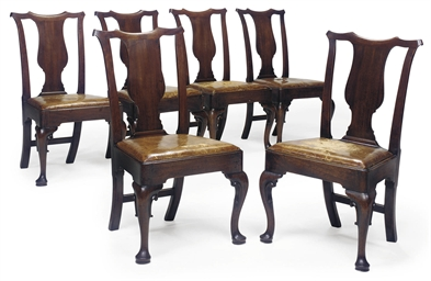 A SET OF SIX GEORGE II MAHOGAN