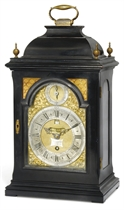 A GEORGE II EBONISED TIMEPIECE TABLE CLOCK WITH PULL QUARTER REPEAT