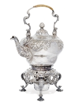 A GEORGE II SILVER KETTLE-ON-STAND
