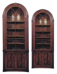 A PAIR OF REGENCY MAHOGANY FRE