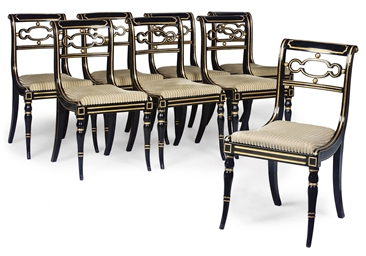 A SET OF EIGHT REGENCY BLACK P