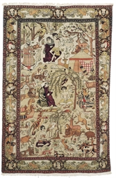 A FINE ISFAHAN PICTORIAL RUG,
