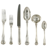 A VICTORIAN SILVER TABLE SERVICE OF KINGS SHAPE DOUBLE THREADED PATTERN FLATWARE