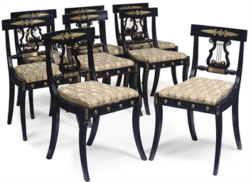 A SET OF EIGHT REGENCY GILT-ME