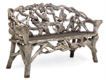 A RUSTIC WOOD SEAT