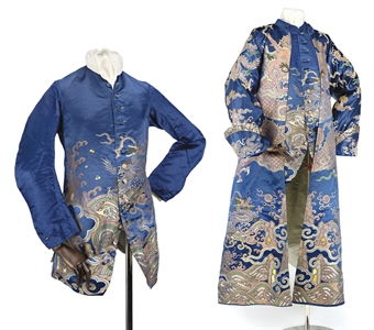 A FINE AND RARE GENTLEMAN'S BANYAN AND WAISTCOAT, MADE UP FROM A DRAGON ROBE