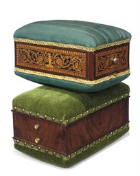 TWO ITALIAN UPHOLSTERED PRAYER