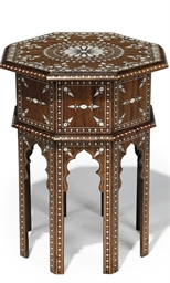 AN INDIAN IVORY INLAID HARDWOO
