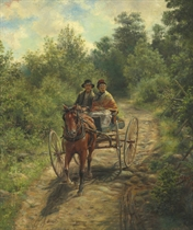 Couple on a Horse and Buggy