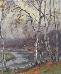 Birch Trees by a River
