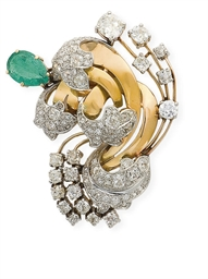 BROCHE EMERAUDE ET DIAMANTS, P