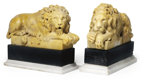 A PAIR OF ITALIAN SIENA MARBLE