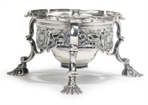 A GEORGE II SILVER KETTLE STAND
