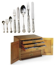 A VICTORIAN/MODERN SILVER TABLE SERVICE OF KING'S PATTERN FLATWARE