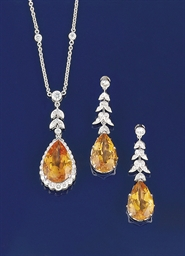 A CITRINE AND DIAMOND PENDANT