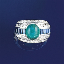 An emerald, sapphire and diamo