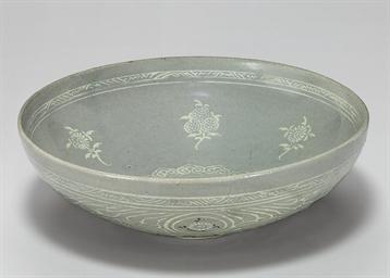 An Inlaid Celadon Stoneware Bo