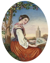 Portrait of a girl with a fan