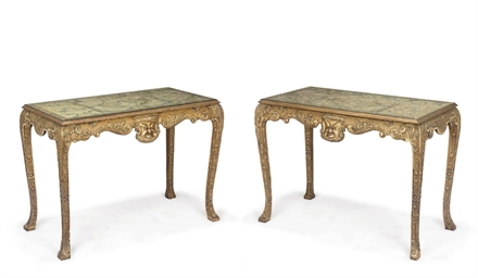 A PAIR OF GILTWOOD SIDE TABLES