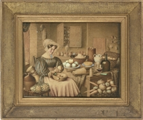A woman paring apples