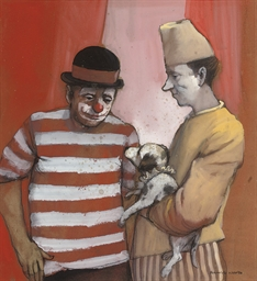 Two clowns with a puppy
