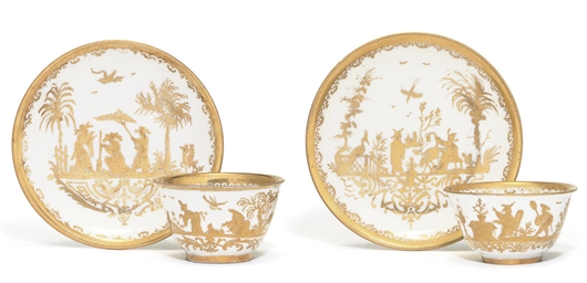 TWO MEISSEN GOLDCHINESEN TEABO