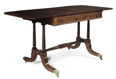 A REGENCY MAHOGANY AND TULIPWO