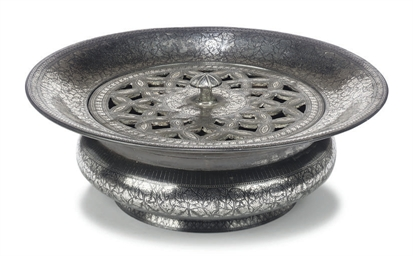 AN INDIAN BIDRIWARE SILVER-INL