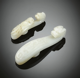 TWO WHITE JADE BELT HOOKS