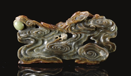AN UNUSUAL MOTTLED BROWN JADE