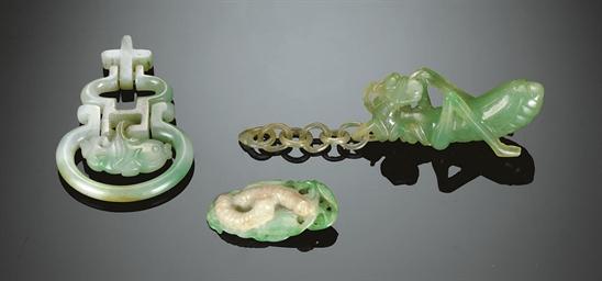 THREE SMALL MOTTLED GREEN JADE