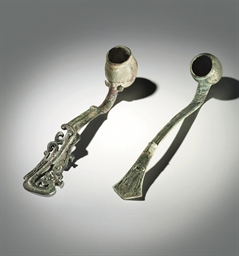 TWO RARE BRONZE RITUAL LADLES