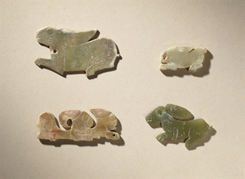FOUR JADE RABBIT-SHAPED PENDAN