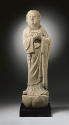 AN UNUSUAL WHITE MARBLE FIGURE