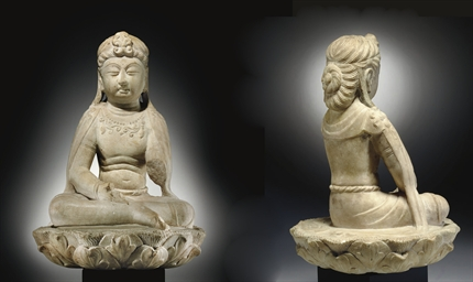 A RARE WHITE MARBLE FIGURE OF