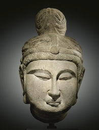 A LIMESTONE HEAD OF A BODHISAT